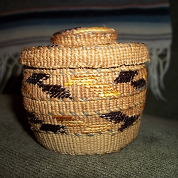 Miniature Tlingit Rattletop Basket with 4 colors used for Imbrication