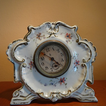 ANTIQUE PORCELAIN CLOCK - DATED MAY 29,1894