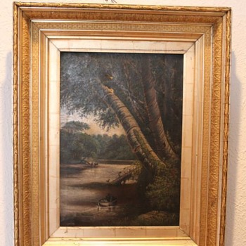 Vintage / Antique Oil Painting with corn detail frame - Visual Art