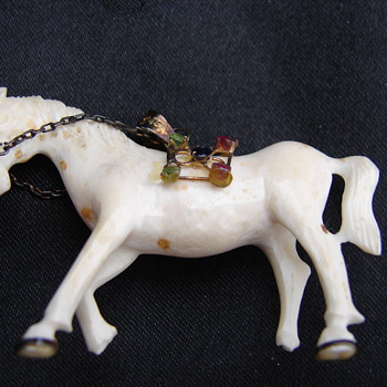 Ivory Horse Pendant With Rhinestones