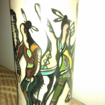 native american hand painted vase