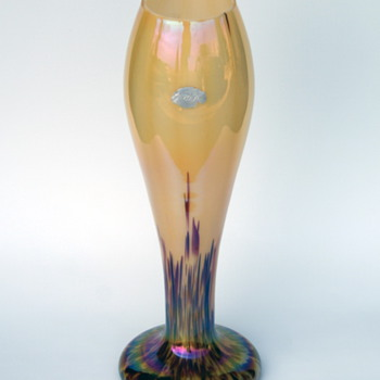 WELZ  Iridescent Translucent Lines & Spots Labeled Vase - Art Glass