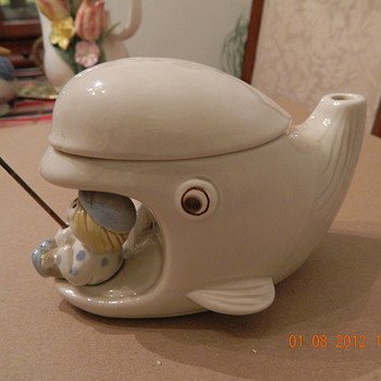 The fisherman fished. Do you know something about this teapot? - Art Pottery
