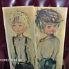 Vintage French Big Eyed Painting Boy&Girl