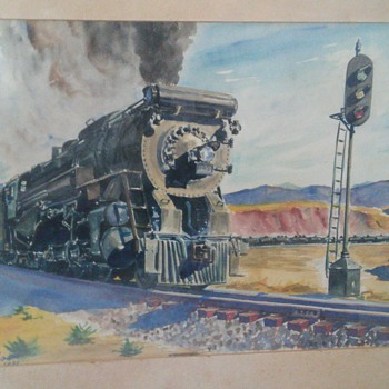 water color train signed - Arts and Crafts