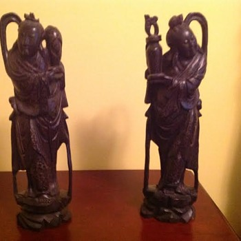 Carved antique wooden Asian figures with brass wire inlay