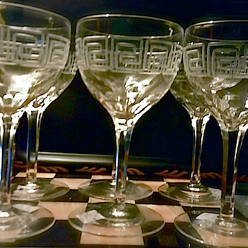 Etched Greek Key Crystal Wine Glasses - Glassware