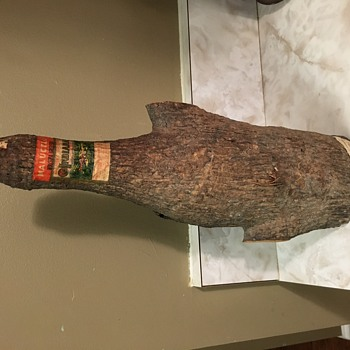Old Full Brandy Bottle wrapped in wood from Brazil 1920's