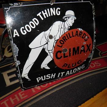 1890s climax plug porcelain sign