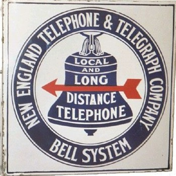 New England Telephone &amp; Telegraph Co. Red Arrow Porcelain Sign