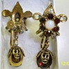 Victorian Drop Screw Back Earrings - Garnet, Crystals, Opal, Skull