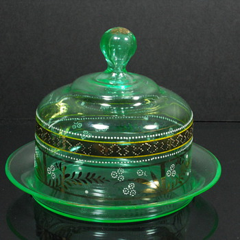 Enameled covered butter or cheese dish - Art Glass