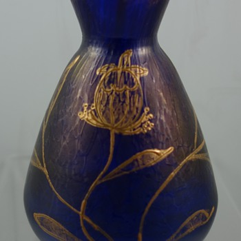 Loetz Cobalt Ciselé vase, Prod. Nr. I-8054 (alt 176), ca. 1899, Dek unknown - Art Glass