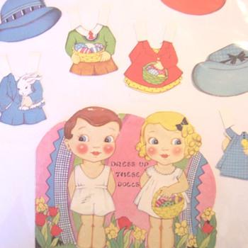 Vintage valentine paper dolls