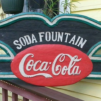 carved wooden soda fountain coca cola sign  - Coca-Cola