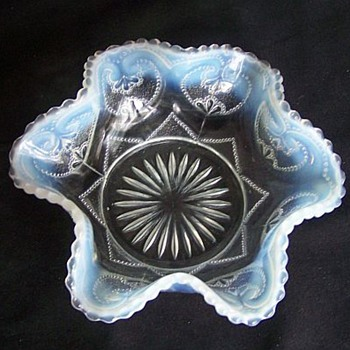 Dugan/Northwood Blue Opalescent Victor aka Jeweled Heart Master Berry - Glassware