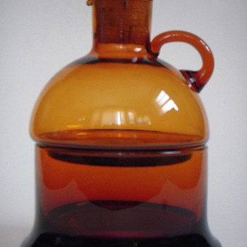 Deep Amber Glass 2 Part Bottle~a Mid Century Something from DANSK?