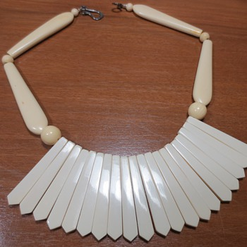 Bakelite Ivorine Necklace made from utensil handles