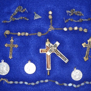 Box of religious items dug-up with a metal detector