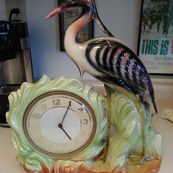 Mid-Century? Deco? Heron Mantel Clock, Unknown Maker - Figurines