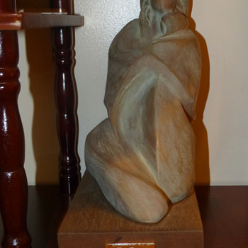 Mother and Child Wood Carving by G Rosi - Art Pottery