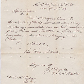 Letter from 1869 to soldier - Military and Wartime