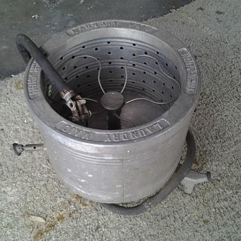 1920s cast aluminum water powered cloths spinner