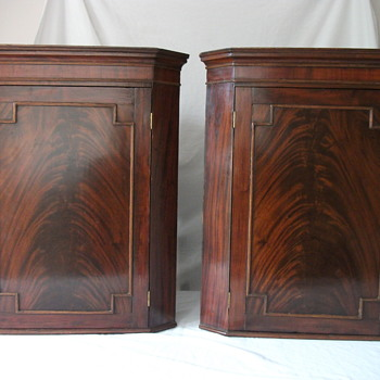 Pair of flame late Georgian early Victorain? Mahogany cabinets