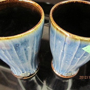 blue glazed glasses? - Art Pottery