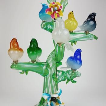 Enrico Cammozzo Murano Birds in a Tree Sculpture