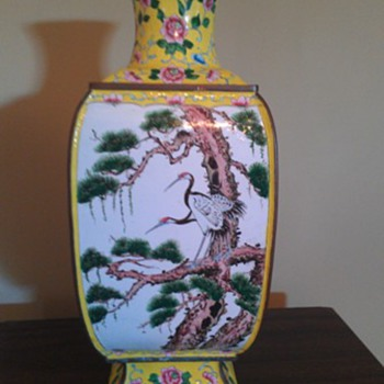Reposting- Large Copper Painted Vase - Asian