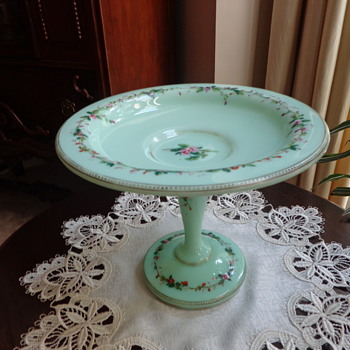 Vintage Compote (?), Green Glass, Hand Painted