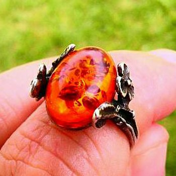 Amber and silver ring - Fine Jewelry