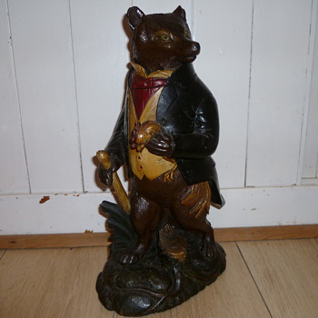 DETAILED CARVED CHARACTER FOX TOBACCO JAR  - Tobacciana