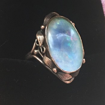 Arts & Crafts Gold Opal Ring - Fine Jewelry