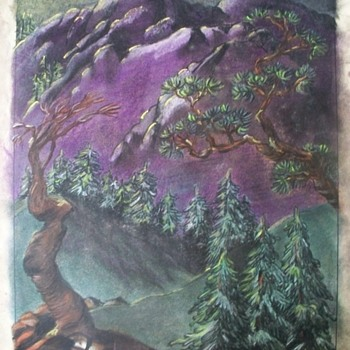 "Old Platt & Munk Co.; ""Mountain Scene"" Original Children's Book Art  - Visual Art"