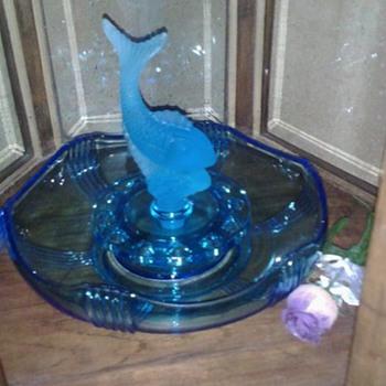 Blue Fish float flower bowl