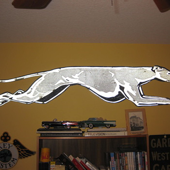 1950's Relfectorized Metal Greyhound Dog (7 feet long)