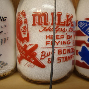Unusual War Slogan Milk Bottles #5......
