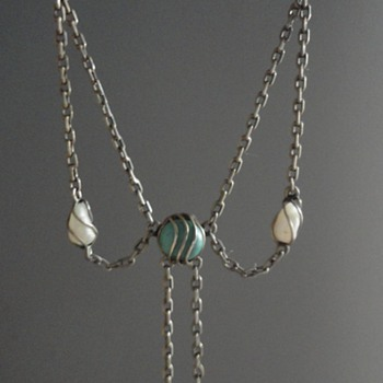 Jugendstil Pearl & Turquoise Necklace by Carl Hermann from Pforzheim