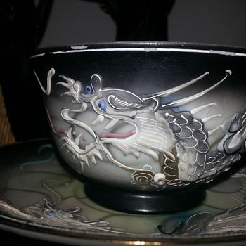 JAPENESE MORIAGE DRAGONWARE LITHOPANE GEISHA CUP & SAUCER