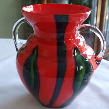 Kralik  Red-Orange Tango BAMBUS Vase with Handles - Art Glass