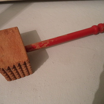 Vintage Wooden Wood Meat Tenderizer Pounder Red Handle