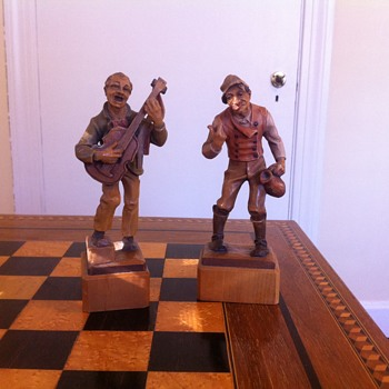 My favorite wood figures. 7in tall wood figures made in Italy aprox age is 50yrs