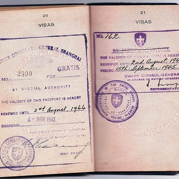 Swiss protection endorsement inside a WW2 used passport