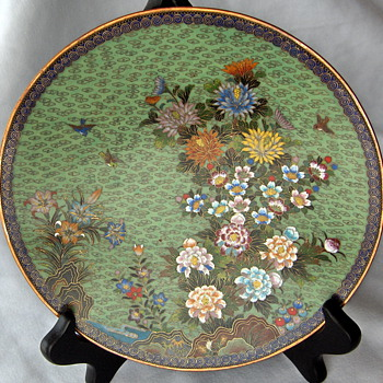 Lovely Early Green INABA Antique Japanese Cloisonne Plate 1890