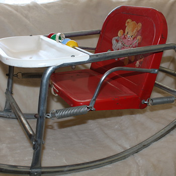 Vintage Red Metal Infant's Rocking Chair - Furniture