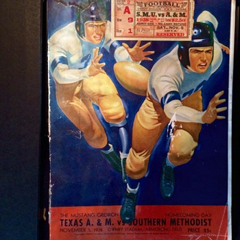 Texas A&M vs. SMU 1938 Program and Ticket Stub