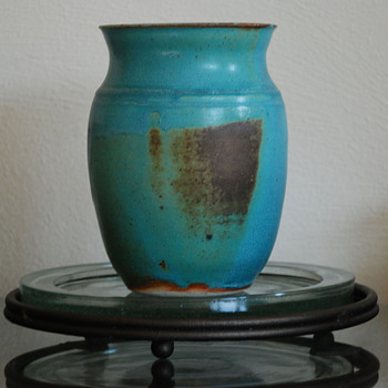 Vase with Blue Glaze  and Iron Rust - Art Pottery