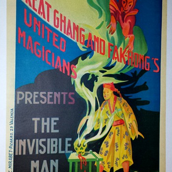 "Original Fak Hong ""The Invisible Man"" Stone Lithograph Poster"